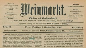 Weinmarkt - Weinbau- und Weinhandelsblatt vom 1. September 1893
